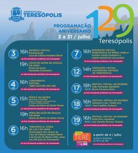 129 anos de Teresópolis com programação virtual