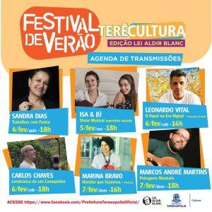 Atrações Festival de Verão Terê Cultura Online a partir 04-02